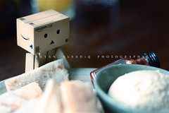 "Danbo is eating ""Hummus"" (Bayan AlSadiq) Tags: food eating eat danbo revoltech danboard"