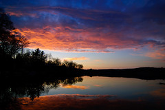I live here (afternoon_dillight) Tags: sunset sky lake water silhouette michigan tokina1224 d40 winanslake