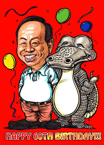Birthday caricature for Heng Long with crocodile