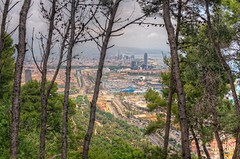 View of Barcelona from the Montjuic Mountain (Spain), HDR