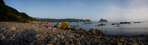 Camping near Bikuni on the coast of Shakotan Peninsula, Hokkaido, Japan
