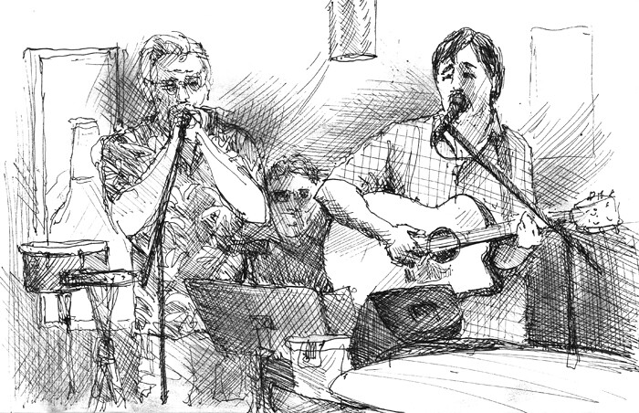 sketchbook drawing of Dorney & Friends at Corner Door Louisville