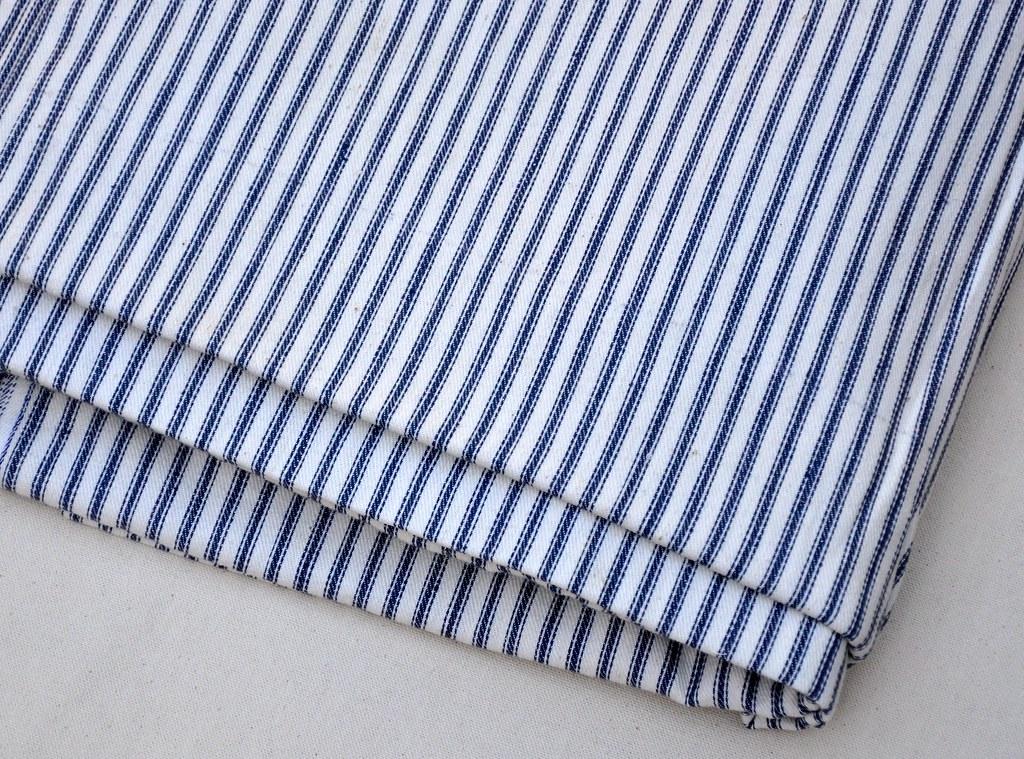 Navy Mattress Ticking Fabric