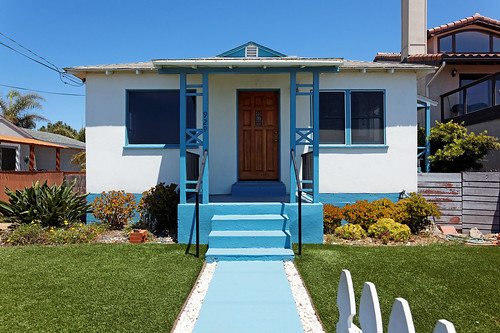 Front yard with white picket fence