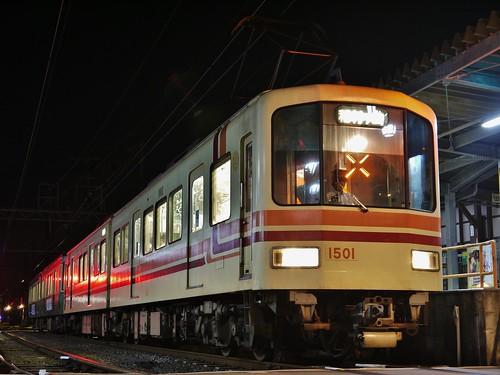 江ノ電1501F+22F稲村ヶ崎行き最終電車@長谷