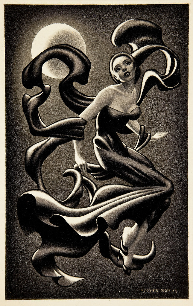 HANNES BOK - Woman Dancing, story illustration, 1949