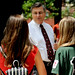 CALS Dean Johnny Wynne greets new students in front of Patterson Hall.