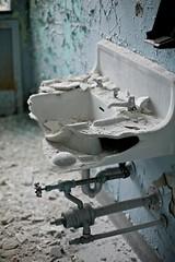 anatomy (rustyjaw) Tags: abandoned broken hospital sink plumbing powder dust shattered porcelain shards kingsparkpsychiatriccenter