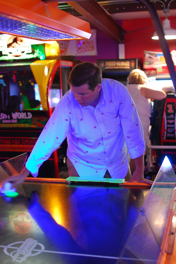 mat beating chris at air hockey
