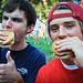 Grilled burgers get a thumbs up from students attending the event on Wednesday afternoon.