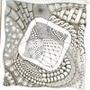 Diva's Week 35 challenge (carolegn) Tags: white black tile challenge tangles zentangle