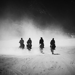 Musketeers (Hengki Koentjoro) Tags: mist fog square transport dream surreal horsemen highland journey romantic dust tribe bromo tengger