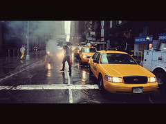 ([~Bryan~]) Tags: road street nyc newyork rain rainyday manhattan taxi working cinematic
