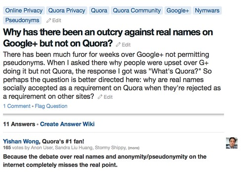 Yishan Wong, Quora's #1 fan!, 165 votes ...