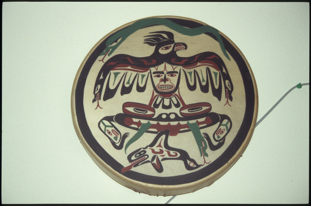 Drum With Bird and Whale Design by Micah McCarty, Neah Bay