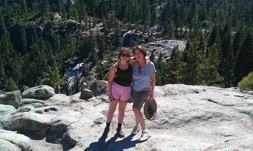 In front of Eagle Falls, at Emerald Bay trailhead in Lake Tahoe.