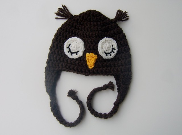 Crunchy Congo Critter Month<br>Small Crocheted Sleepy Owl hat