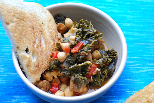 Chickpea, kale & sausage stew