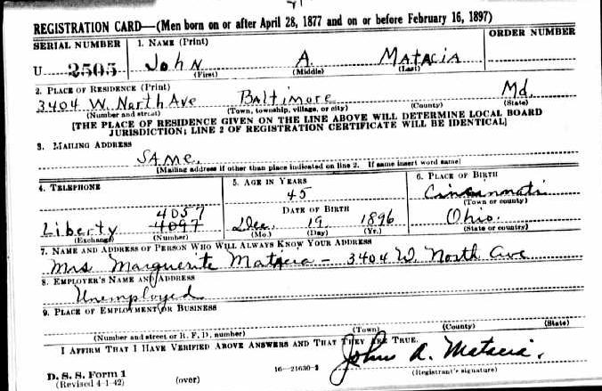 Uncle John Matacia Draft Card WW II