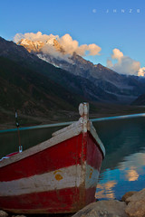 Clich at saif-ul-maluk (JHNZB) Tags: travel pakistan sunset cloud mountain lake reflection travelling clouds canon boat amazing canoe kaghan northernareas nwfp dow naran saifulmaluk naraan saifulmalook 550d