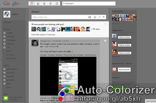 Auto-Colorizer: Add Color to Google Plus, Facebook Profiles (2011)