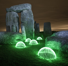stone the domes  [EXPLORE & flickr FRONT PAGE] (V a s s) Tags: light night dark painting circle led torch dome round stonehenge access