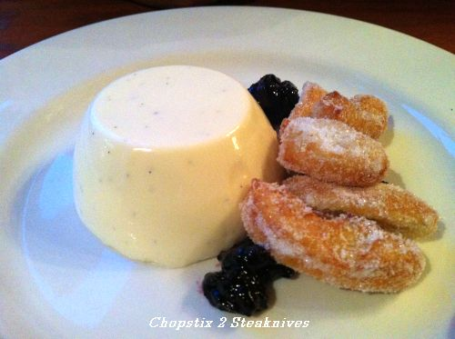 Buttermilk pudding with damson jam and doughnuts
