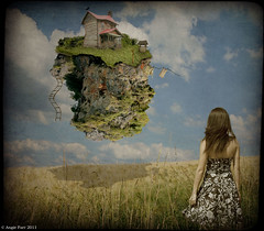 Little House on the Prairie (rubyblossom.) Tags: sky house girl set clouds little blowing line well textures only ladder crow float washing whimsey wishing 151 pararie