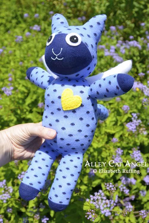 Blue polka-dotted Alley Cat Angel Sock Kitten by Elizabeth Ruffing