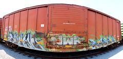 SUEMEEASER (KNOWLEDGE IS KING_) Tags: railroad urban color art yard train bench one graffiti paint panel tracks railway socal railcar crew ianr boxcar panels graff piece bomb railfan freight burners fill nwk in rollingstock sueme easer arcsoft stitchedpanorama