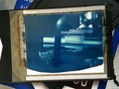 Blue-ishゴーヤかぼすジナーS@Polaroid 59 (eiichi scart) Tags: 2003 zeiss geotagged polaroid carl expired 59 135mm planar iphone 160 f35 polaroid59 airme