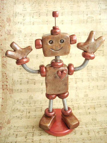 Rustic Red Ray Robot Sculpture by HerArtSheLoves