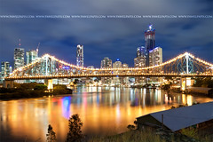 story bridge (Pawel Papis Photography) Tags: city travel bridge blue light sky urban cloud motion blur reflection building tree tower water beautiful skyline architecture modern night river landscape evening apartments skyscrapers dusk australian australia scene brisbane warehouse story queensland lovely