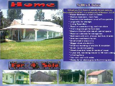Inexpensive home and acrerage for sale
