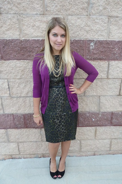 leopard print sheath dress