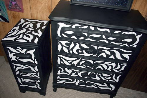 Chest of Drawers and Nightstand ZEBRA Pattern by Rick Cheadle Art and Designs