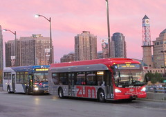 Red and Blue Buses (Sean_Marshall) Tags: ontario bus transit mississauga citycentre brampton bramptontransit zm miway