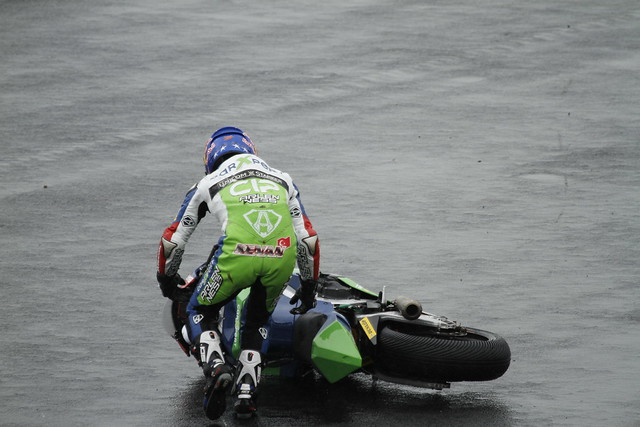 Kenan Sofuoglu after dumping the bike
