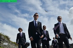 Suited and booted - - on the way to the chapel to get married (alison laredo) Tags: wedding sky men sunglasses groom shades suit unposed groomsmen seagul guitarcase shirtandtie resevoirdogs resservoirdogs