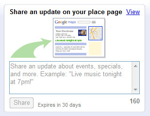 Google Place Page Status Update Interface