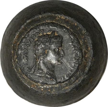 Tiberius (AD 14-37). Denarius reverse die from the Lugdunum mint.