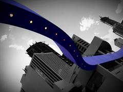 Riverside Centre (phunnyfotos) Tags: blue bw monochrome architecture canon lights purple australia monotone brisbane queensland canonpowershots2is canonpowershot blackwhitephotos blackwhitepics flickrdiamond selectivelycoloured phunnyfotos