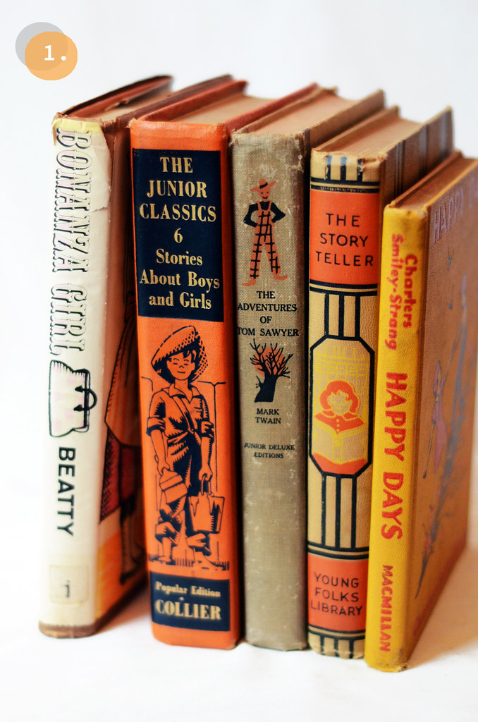 Insta-collection of Five Vintage Orange Books