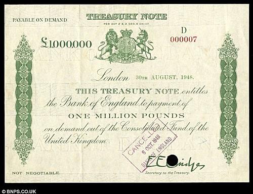 Million pound Treasury Note