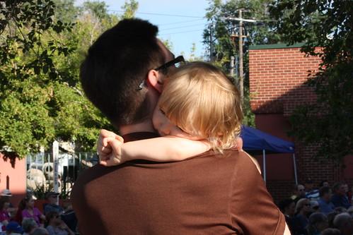 Hugging her dad