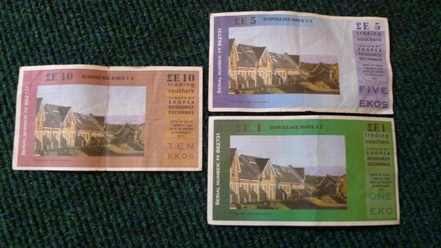 面額不同的Eko社區貨幣(反面)