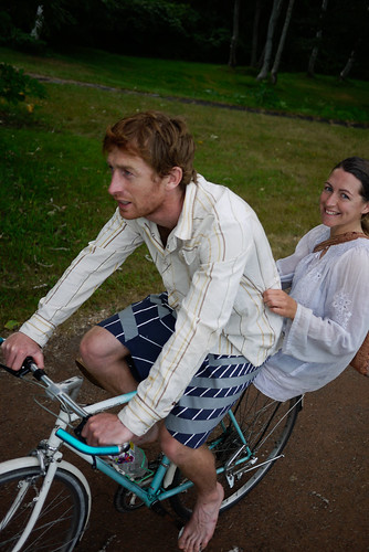 Doubling on a bicycle in Kyogoku, Hokkaido, Japan