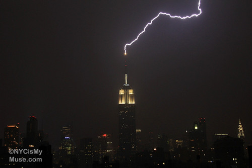 Zzzzzzt! Empire State Building getting zapped with lightning during last night's thunderstorm