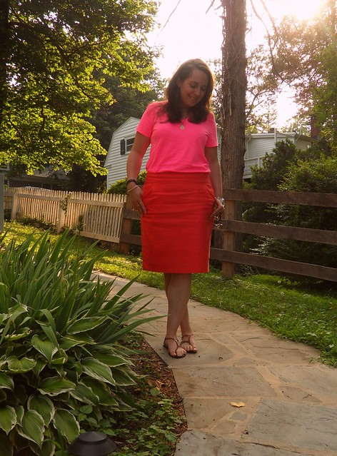 Pink & Orange color blocking