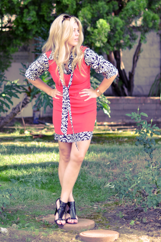coral and black and white dress  + blonde hair+heels
